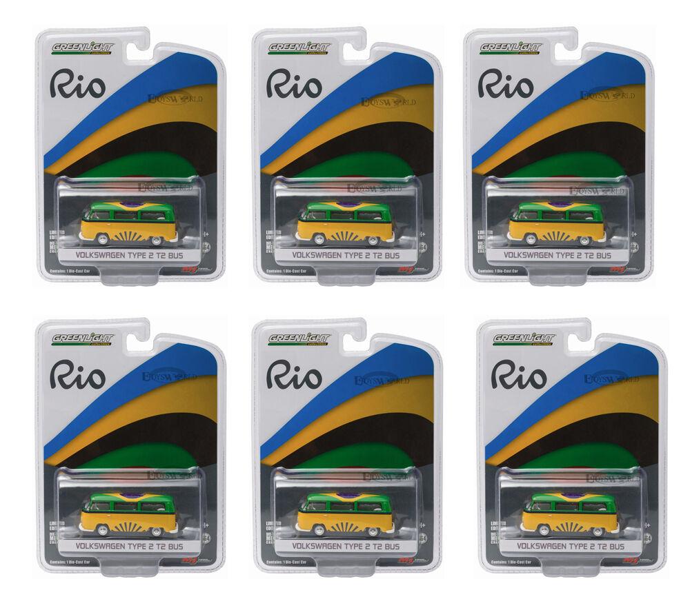 GREENLIGHT 1 64 SCALE RIO GAME BRAZIL VOLKSWAGEN VW T2 BUS 6 PCS 51037