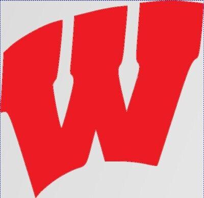 Wisconsin Badgers football college W vinyl sticker decal logo truck car #540
