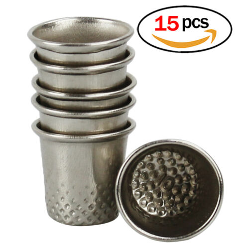 Thimbles for Sewing Set with 15pcs Silver Thimbles in One Size Metal Thimbles