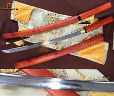Japanese Sword WAKIZASHI Shirasaya  T10 Clay Tempered Blade Fully Functional