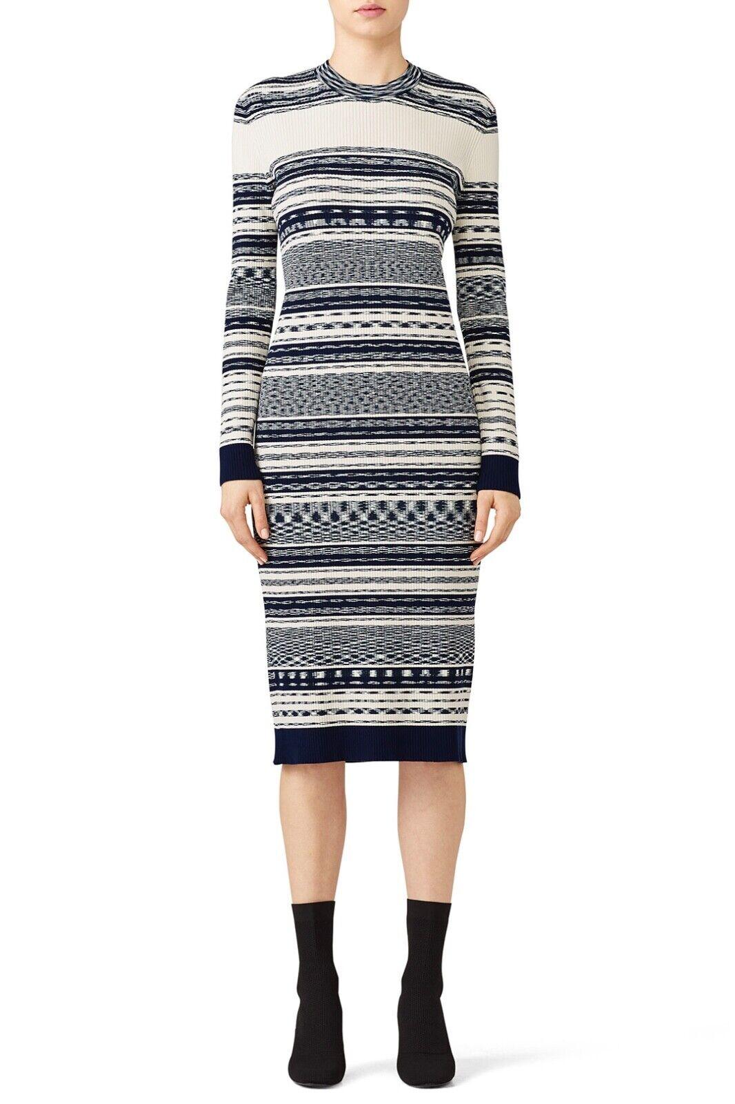 Tory Burch Julie Woherren Dress XL Ivory Navy Mixed Stripe Sweater Midi