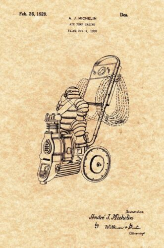 1929 Vintage Michelin Man Air Compressor Ready To be Framed! Patent Print