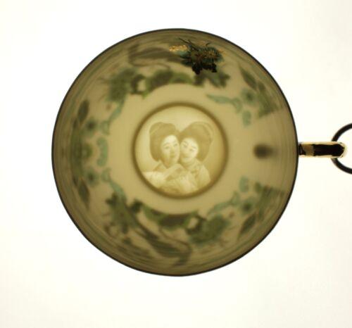Vert Paon Fleur Leaf Motif geisha LITHOPHANE Tasse Thé Soucoupe new Japan