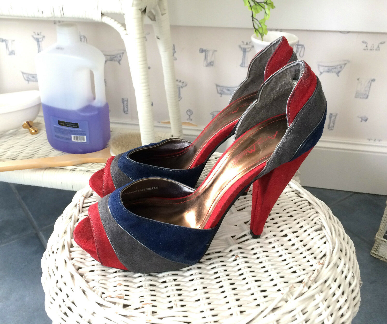 Anne Michelle, Leather, RED+Blue+Gray, 4 & 5/8