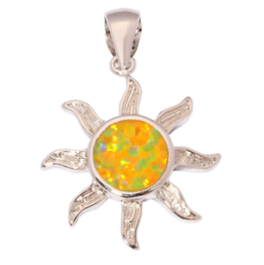 Woman-Fashion-925-Silver-Jewelry-Sun-Fire-Opal-Charm-Pendant-Necklace-Chain-HOT