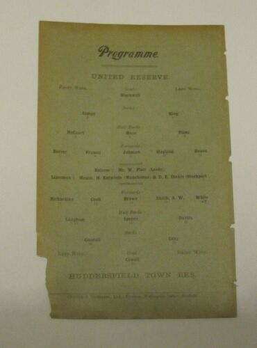 192324 Sheffield Utd Reserves v Huddersfield Town Res. Football Programme