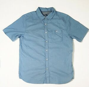 The-North-Face-Mens-Shirt-sz-Large-Blue-White-Micro-Stripe-SS-Button-up