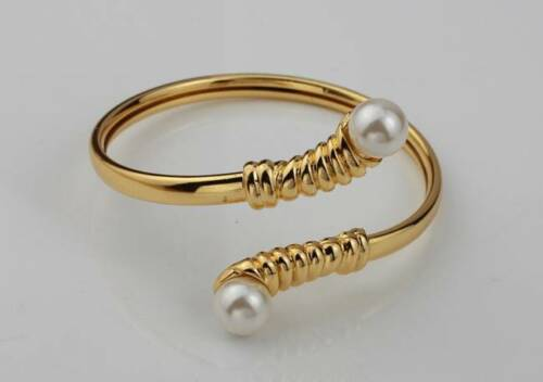 New Bracelet//Bangle With Pearl Cuff Style 18KT Gold or Platinum Plated