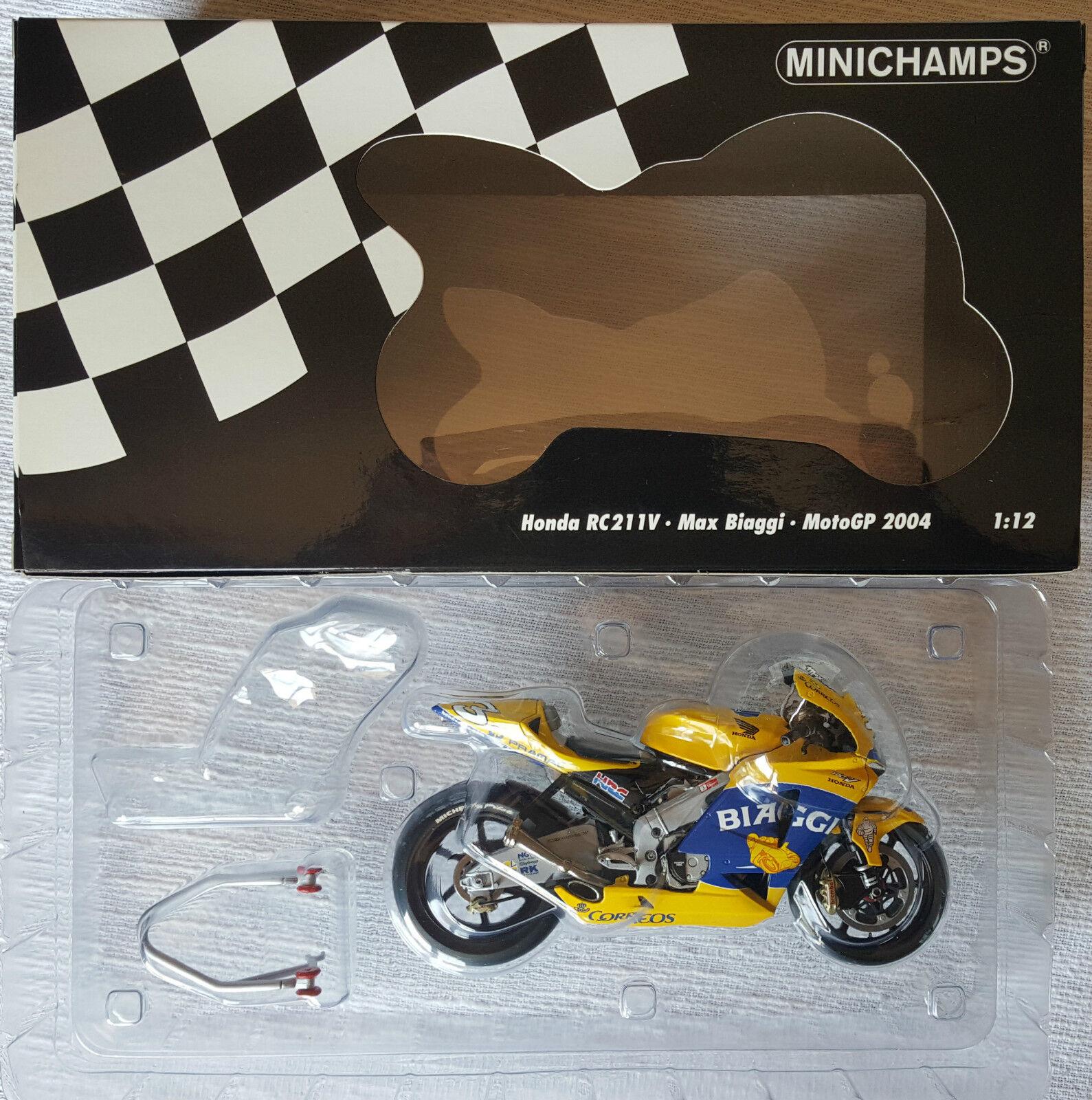 MINICHAMPS 1 12 MAX BIAGGI HONDA RC211V CAMEL PRAMAC PONS MOTOGP 2004 RARE