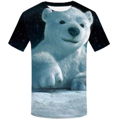 Hot Stylish 3D Tiger Lion Bear Print T-Shirt Men/'s Casual Short Sleeve Tops Tee