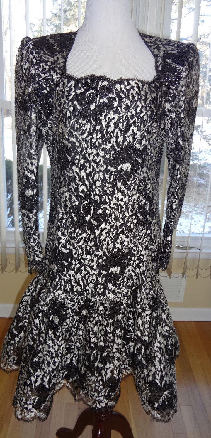 Vintage Diseñador Christian Rupert Couturier  para mujeres de Encaje Negro Metálico Vestido Talla 10  mejor calidad mejor precio