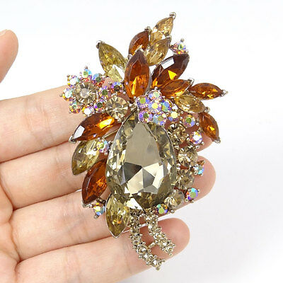 High Quality Flower Floral Drop Pendant Pin Brooch Brown Austrian Crystal