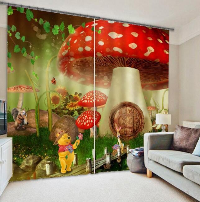 Casa De Hongo 3D impresión fotográfica Blockout cortinas de la ventana de cortinas de tela de cortina