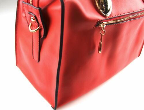 WOMENS BLACK RED GOLD FAUX LEATHER LARGE DOCTOR HANDBAG LADIES HAND BAG LADIES