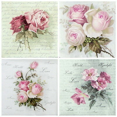 """4x Single Table Paper Napkins for Party, Decoupage, Craft """"Vintage Wild Rose mix"""