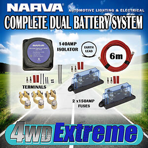 Dual Battery Kit 140amp Narva Complete Isolator Wiring Fuses Cable