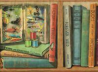 Sportsman Book Shelf Duck Decoy Fly Tying Materials 10 1/4 Wallpaper Border Wall
