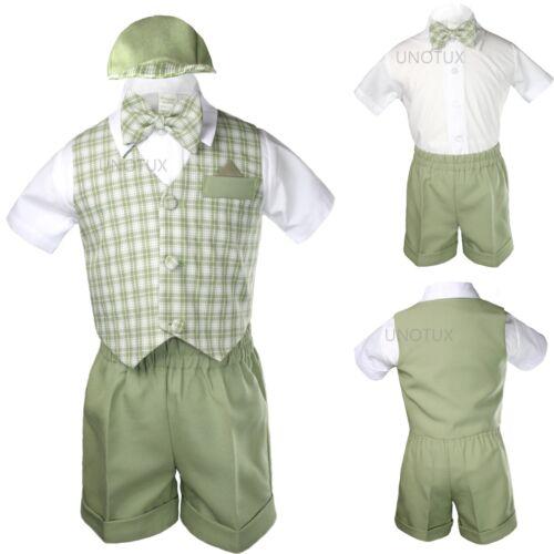 Green Baby Boy Infant Toddler Formal Party Gingham Shorts Vest Suit sz S-XL 2-4T