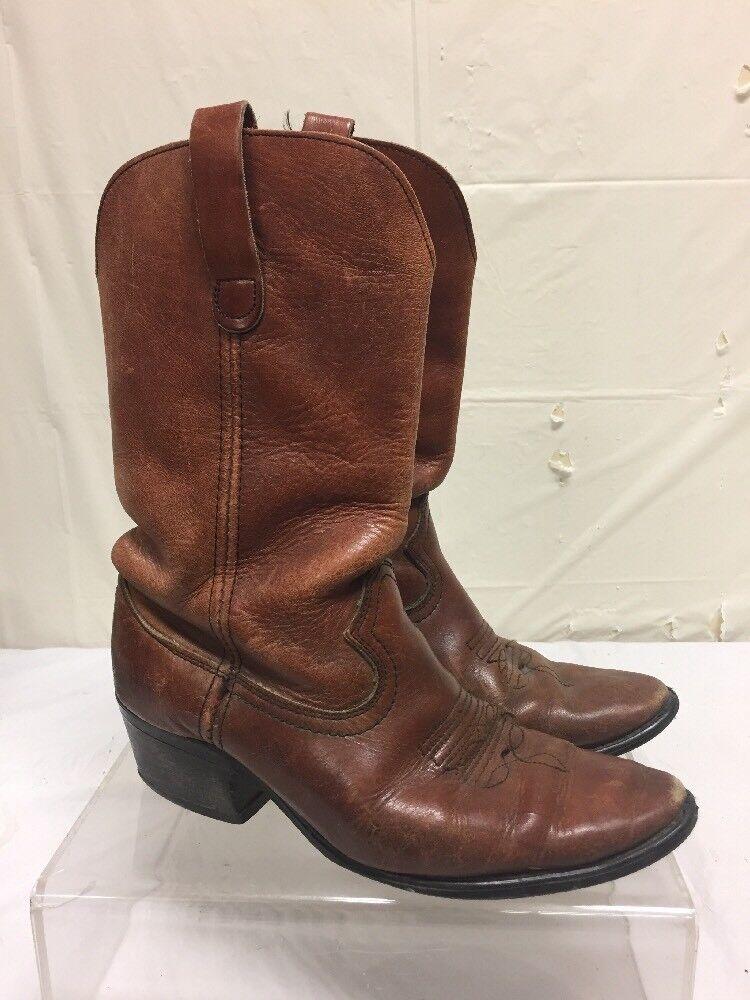 Vintage Brown Leather Cowboy Boots Mens Sz 9 M - Antique VTG Western