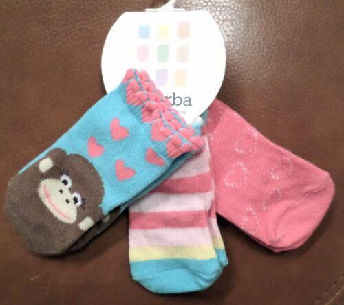 Absorba Baby Girls 3Pr Ankle Socks Monkey//Stripe//Hearts Pink//Blue//Multi 0-6 Mo