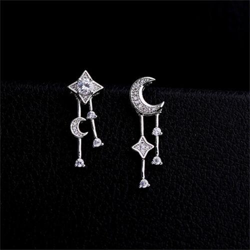 Star Moon Tassel Ear Stud Earring Women Crystal Asymmetric Earrings Jewelry FI