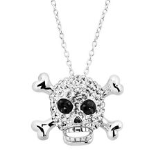 Crystaluxe Skull & Crossbones Pendant with Swarovski Crystals in Sterling Silver