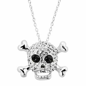 Crystaluxe Skull & Crossbones Pendant with Swarovski Crystals in Sterling Silver