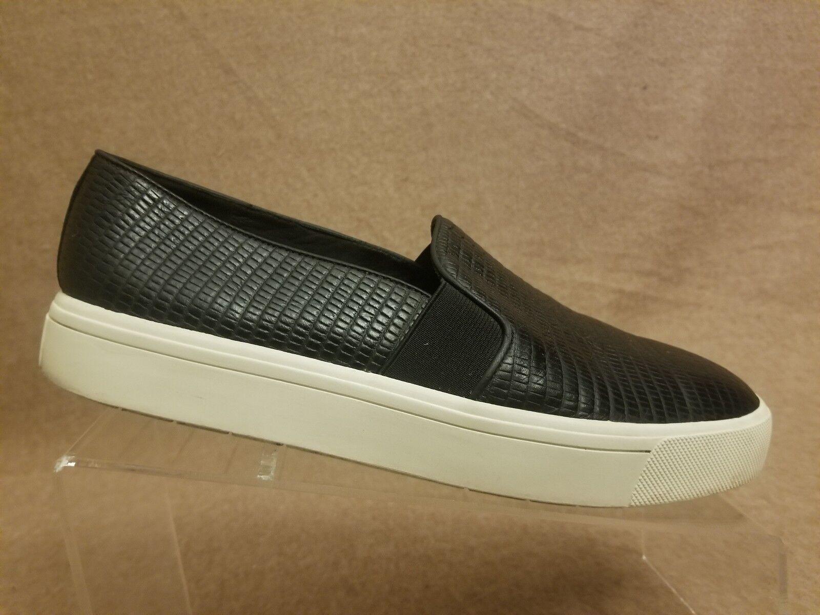 Vince Women shoes Black Flats Leather Snake Print Slip Slip Slip On Loafers Sz 8.5 M  38.5 3eca98