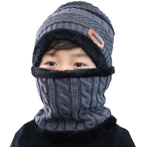 Toddler Kids Knitted Winter Warm Wool Beanie Cap Baby Boys Girls Hat Scarf Sets