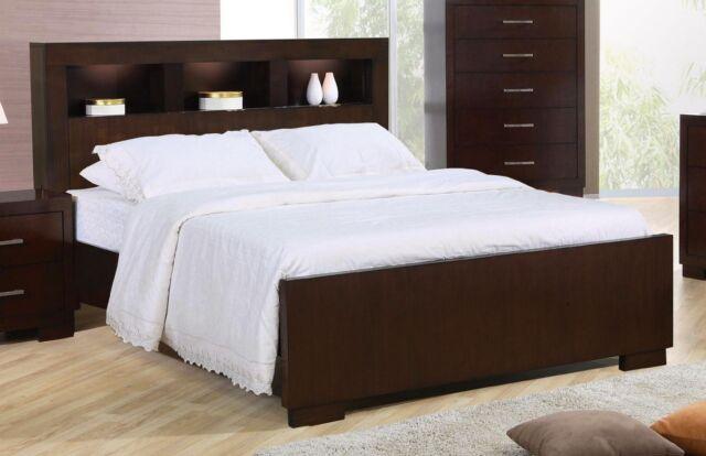 Jean California King Bed Set W Storage Headboard Lights In