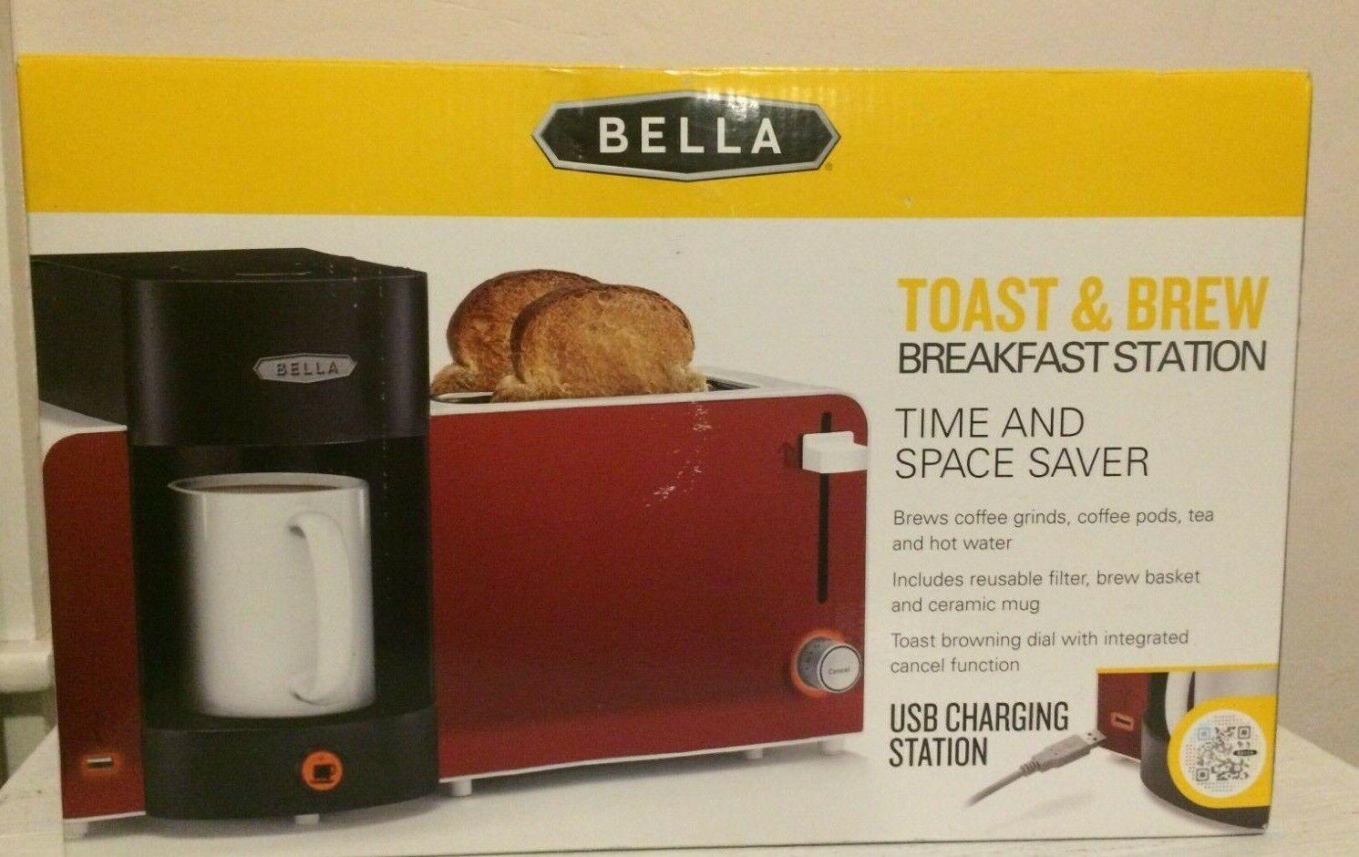 Bella Brew Toaster Station Red USB Port Compact Kitchen Camper RV Cottage Dorm