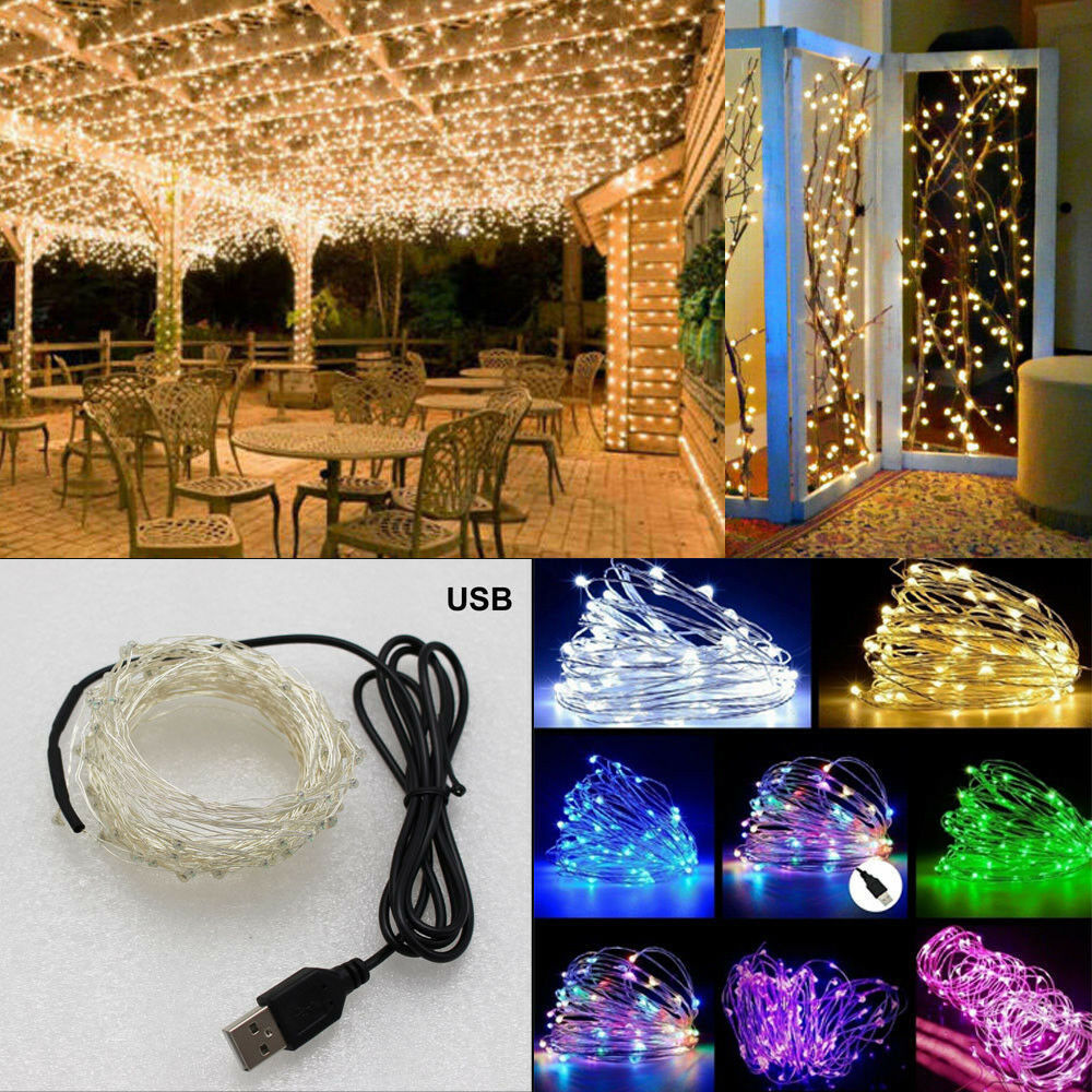 USB Connector LED String Fairy Lights 5 50 LEDs  Warm Weiß Copper Wire String