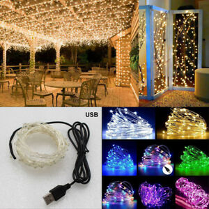 USB-Connector-LED-String-Fairy-Lights-1-5-10M-100-LEDs-Copper-Wire-Party-Decor