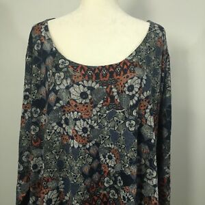 Nally-amp-Millie-Women-s-Top-Tunic-USA-Plus-Size-Red-Blue-Floral