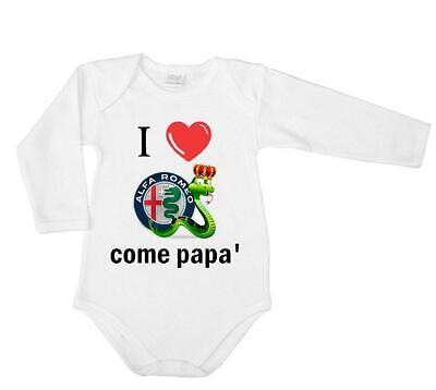 Maglia dolcevita neonato cotone stampa I love Alfa Romeo come papà logo regalo