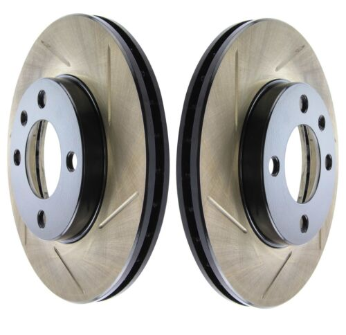 Pair Set of 2 Front Stoptech Sport Slotted Disc Brake Rotors for Audi Volkswagen