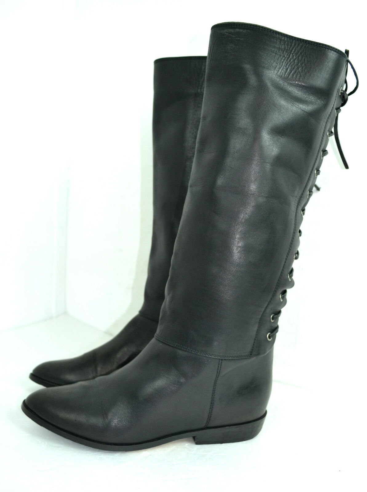 BIARRITZ BLACK GENUINE LEATHER WOMEN FLAT BOOTS SIZE 8 B 1