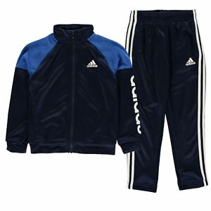 88f5fcdb3f1f Details about adidas Kids Boys Linear Logo Poly Tracksuit Junior Long Sleeve  Lightweight Zip