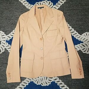 WOMENS THEORY beige 3 BUTTON THIN JACKET W/ 3 POCKETS - SIZE 4 career