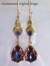 Art Nouveau Art Deco earrings Edwardian vintage wedding style blue crystal drop