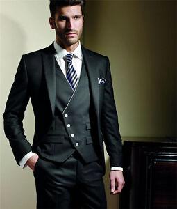 Vestito Matrimonio Uomo Nero : Fatto su misura vestito abito cerimonia uomo sposo 5 pezzi nero slim