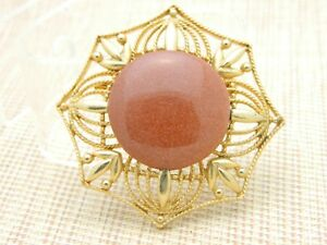 Gold-Tone-Bronze-Goldstone-Large-Medallion-Pin-Brooch-Vintage