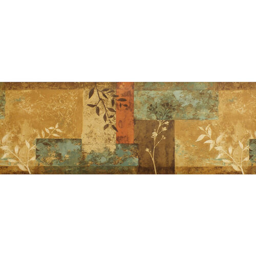 Modern leaf design with a textured effect background 04B Wallpaper border