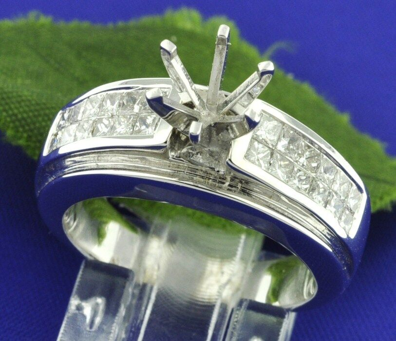 1.00 ct 18k Solid White gold Ladies Semi Mount Diamond Ring Setting 10.05 Gram
