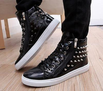 Punk Fashion mens rivets Korean Spike punk patent leather high-top shoes Sneaker