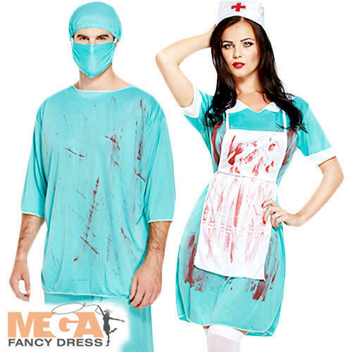 14c18fef9940f Bloody Zombie Surgeon Nurse Couple Fancy Dress Halloween Adult Doctor  Costumes for sale online | eBay