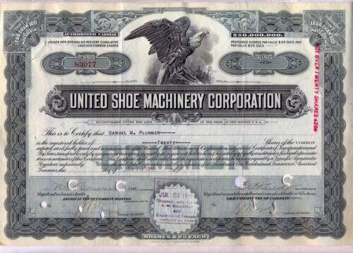 United Shoe Machinery Corporation Stock Certificate New Jersey
