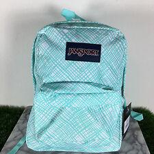 Jansport Superbreak Backpack AQUA DASH JAGGED PLAID 100% AUTHENTIC School