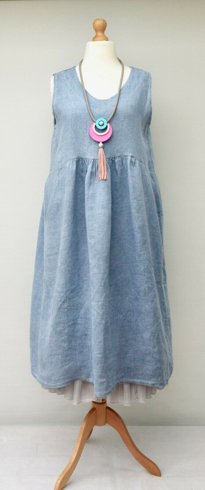 "LAGENLOOK LINEN OVERSIZED PLAIN 2 POCKETS LONG DRESS**BLUE**BUST UP TO 46"" ITALY"