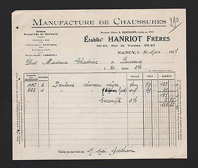 Nancy, Rechnung 1927, Hanriot Frères Manufacture De Chaussures